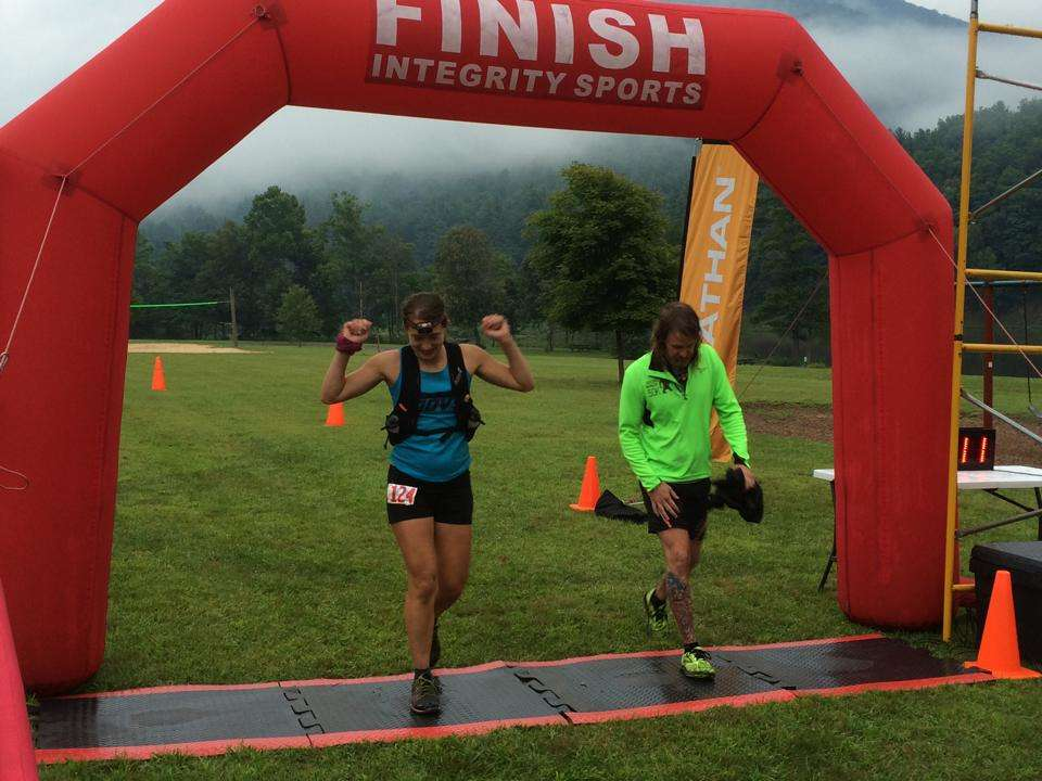 Crossing the finish line in 2nd place