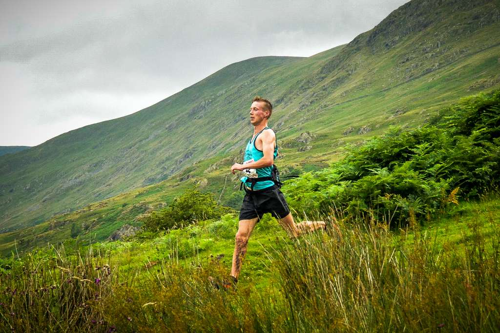 Tom Addison with a huge lead at Kentmere. Photo by Mick Kenyon www.racingsnakes.com