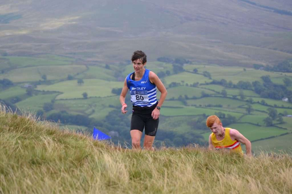 While others are walking, Mary Wilkinson is still uphill running
