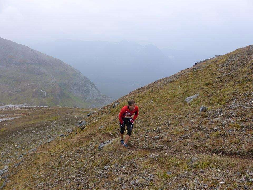 Eirik Haugsnes makes the gruelling ascent of Tromsdalstinden for the second time in the Tromsø Skyrace