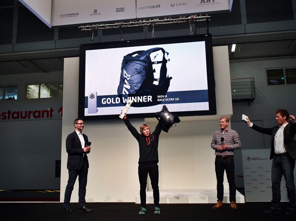 Equipment Product Manager Matt Brown collects the ISPO Gold Award