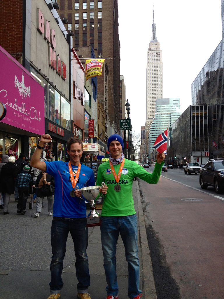 Eirik Haugsnes and fellow Norwegian Thorbjørn Ludvigsen celebrate after both finished in the top-5 at the 2013 Empire State Building Run-Up
