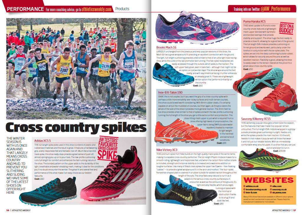 Athletics Weekly included the inov-8 X-TALON 190 as their alternative to using spikes for cross country running