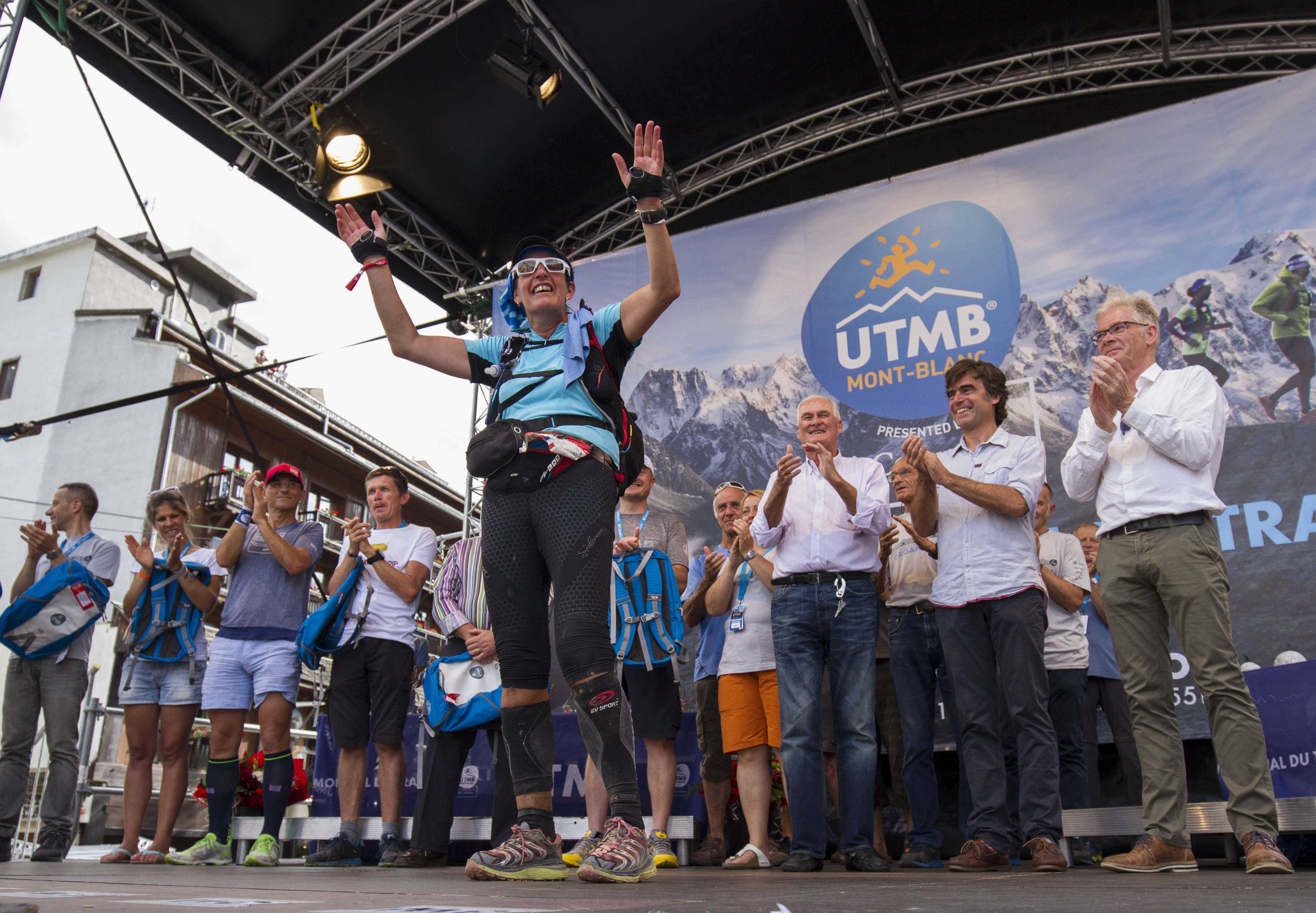 UTMB FINAL FINISHER ON STAGE. Photos by James Mackeddie