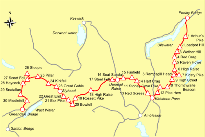 joss naylor challenge route