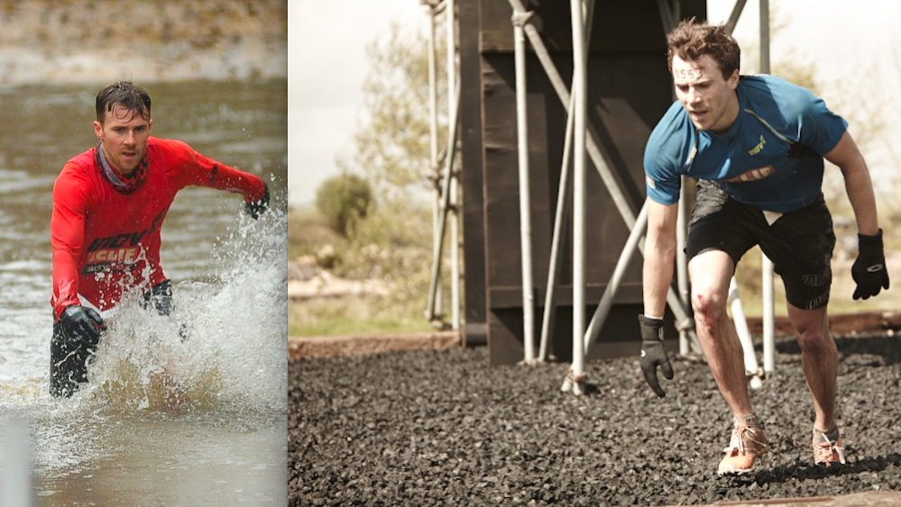 Ross in obstacle course racing action at Hellrunner (left) and Judgement Day (right)