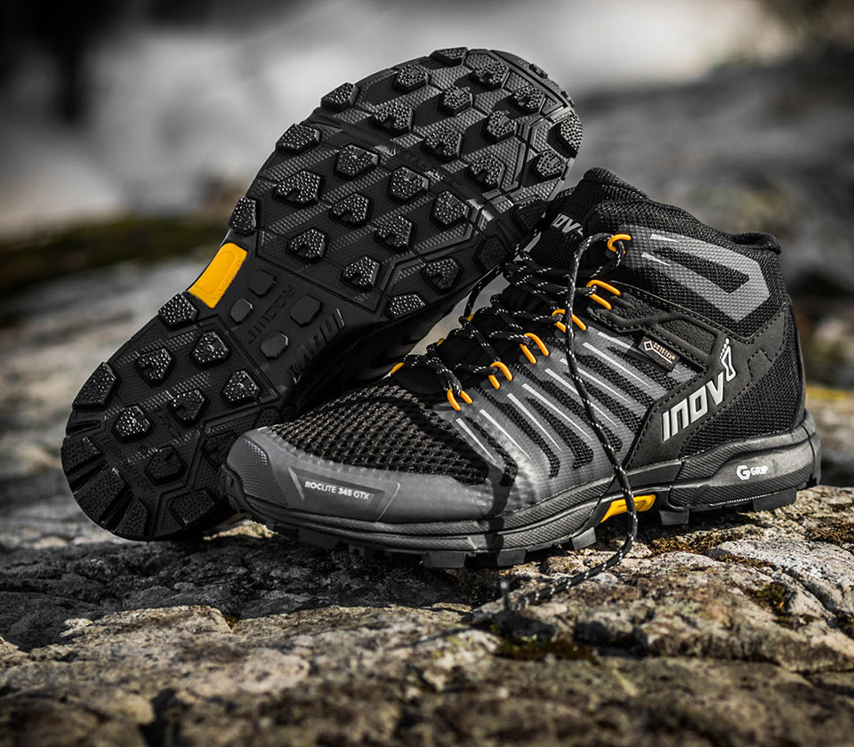 inov-8 G ROCLITE 345 GTX on a rock
